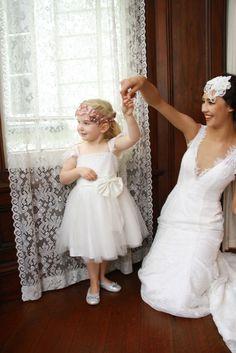Princess Cap Sleeves White Lace Tulle Tutu Flower Girl Dress