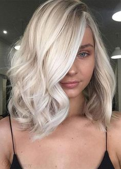 Womens Medium Side Part Hairstyles Blonde Color Human Hair Capless Wavy Wigs Platinum Blonde Hair blonde Capless Color Hair Hairstyles Human Medium Part Side wavy Wigs Womens Hair Color Balayage, Blonde Color, Ombre Hair, Haircolor, Color Streaks, Blond Hairstyles, Side Part Hairstyles, Medium Hairstyles, Summer Hairstyles