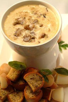 Brie Roquefort and Wild Mushroom Fondue