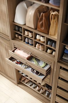Shoes, bags and jewelry organized in one place actually is a possibility with our customizable Martha Stewart Living™️ Closet Collection. #closetstorage Closet Drawers, Shoe Storage Drawers, Shoe Drawer, Smart Storage, Storage Ideas, Bag Closet, Smart Closet, Modern Closet, Closet Space