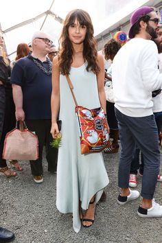 pale mint green maxi dress with asymmetrical hem (Miroslava Duma)