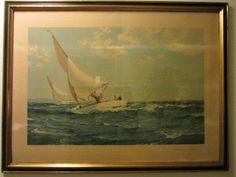 Montague Dawson British Sailing Lithograph Circa 1935 Neck And Neck