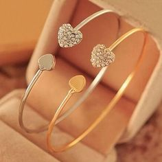 0.37$  Watch more here - Hot Women's Crystal Love Heart Hand Cuff Open Bracelet Bangle Gold Silver Tone Gift  6Y4C 7FZE BD45   #shopstyle