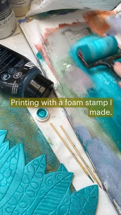 Painting Studio, Ink Painting, Abstract Painting Techniques, Abstract Art, Mixed Media Canvas, Mixed Media Art, Drawing Projects, Art Projects, Foam Stamps
