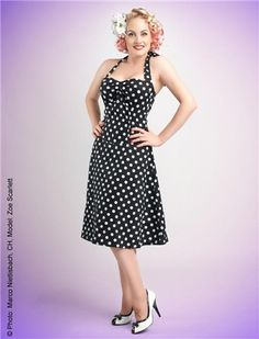 Polka Dot Halter Dress - Rockabilly Clothing - Online Shop für Rockabillies und Rockabellas