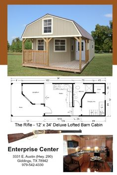 12 x 34 deluxe lofted barn cabin 408 sq ft includes all appliances and you can customize all finishes Lofted Barn Cabin, Shed Cabin, Shed House Plans, Shed To Tiny House, Tiny House Layout, Cabin Floor Plans, Tiny House Cabin, Tiny House Living, Tiny House Design