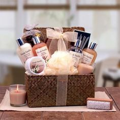 Basket Gifts The Vanilla Bliss Spa Gift Basket is a gift that surrounds the senses in an intoxicating essence that's exotic and delicate. Vanilla, sultry amber and notes of warm sandal and cedar woods evoke a mood Bliss Spa, Spa Basket, Basket Ideas, Aromatherapy Jewelry, Spa Gifts, Corporate Gifts, Homemade Gifts, Gift Baskets, Mother Day Gifts