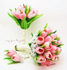 Bridal Bouquet Bridesmaid Bouquet Pink Tulip Wedding Package Groom Groomsman Boutonniere