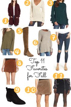 Shop my top 12 favorites for Fall! From sweaters to suede skirts, you'll want them when you see them too!  BP rib trim long cardigan, Halogen tie bell sleeve sweater, BP v-neck sweater, Madewell Northroad Pullover sweater, LUSH tie sleeve sweater, Blank NYC Suede Mini Skirt, Sole Society Vixen Bootie, Free People high rise busted knee skinny jeans, vince camuto Karinda over the knee boot, Dallas Blogger, Irresistibly Petite, Petite Blogger, Petite Fashion, Fashion Blogger, Fall style, Fall…