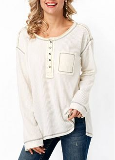 Long Sleeve Side Slit Button Neck T Shirt on sale only US$33.53 now, buy cheap Long Sleeve Side Slit Button Neck T Shirt at Rosewe.com