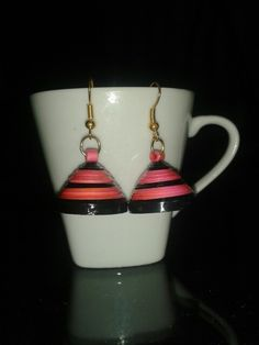 Quilled black and pink jhumka