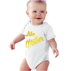 Metallic Gold Like Mother Personalized baby bodysuit or shirt by bodysuitsbynany on Etsy