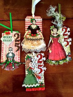 Christmas tags by Apearl B. Working with Character Constructions.