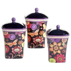 Shop for Certified International Coloratura Ceramic 3-piece Canister Set.Overstock.com - Your Online Kitchen