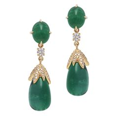 SAZINGG Emerald Drop Earrings with White Diamonds #sazingg #emerald #gold #diamonds #jewelry