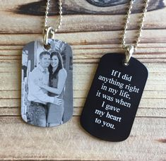 Picture Dog Tag – Photo Engraved Dog Tag – Personalized Dog Tag - Deployment Gift - Photo Key Chain- Groom Gift - Husband Gift - Boyfriend by CMTImpressions on Etsy https://www.etsy.com/listing/480379669/picture-dog-tag-photo-engraved-dog-tag