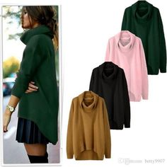 2017 2017 New Fashion Women Casual Turtleneck Long Sleeve Solid Asymmetrical Hem Pullover Sweater For Autumn Winter From Betty9907, $13.97   Dhgate.Com