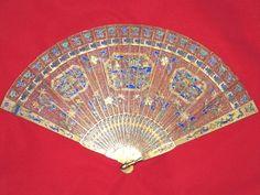 Chinese fan Silver-gilt Filigree,Blue,Green Enamel,Masterpiece, 1830, Canton