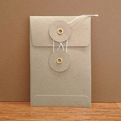 Midori Envelope - Set of 4 - Orange or Kraft - Button and String Tie - 12cm x 8cm from Bookbinders Online