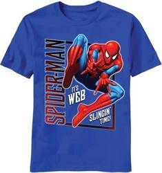 """Vertical """"""""Spiderman"""""""" Blue Kids T-Shirt"""