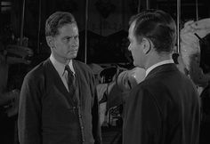 """Father meets son in the climax to Rod Serling's masterful Twilight Zone episode, """"Walking Distance"""" (S1, E5: directed by Robert Stevens, written by Rod Serling), starring Gig Young and Frank Overton."""
