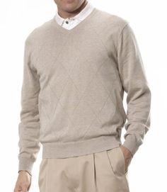 Signature Pima Cotton V-Neck Textured Sweaters