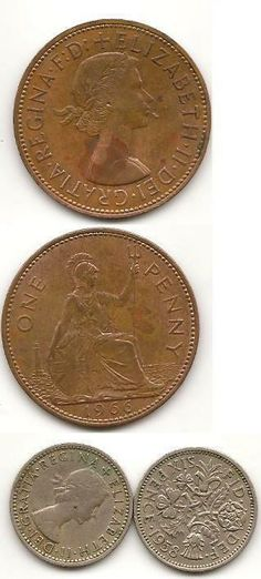 Pre Decimal British Coins The Old Penny And Sixpence Aka