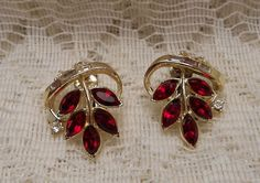 Vintage Red Rhinestone Earrings by Coro