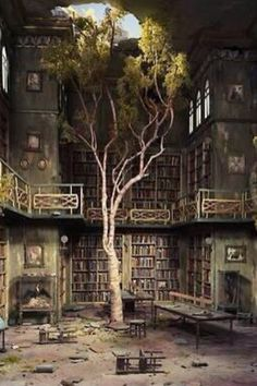 Abandoned library. This is incredibly sad and surely worth a poem.