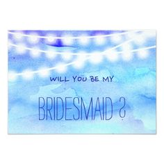 Outdoor Wedding RSVP Beach blue watercolor string lights my Bridesmaid Card
