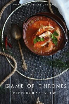recipes breads Game of Thrones: Peppercrab Stew - Feast of Starlight Game of Thrones: Peppercrab Stew recipe Antipasto, Game Of Thrones Food, Seafood Recipes, Cooking Recipes, Cooking Games, Yummy Recipes, Soup Recipes, Medieval Recipes, Food Themes