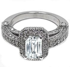Emerald Cut Diamond Legacy vintage Engagement Ring