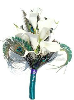 Peacock calla lilies bouquet ~ Keepsake Bouquet ~ Peacock Wedding Flowers ~ Silk Flowers ~ Gift for Bridesmaid ~ Teal, Purple Bridal Bouquet by WeddingBellsBelles on Etsy https://www.etsy.com/listing/236519177/peacock-calla-lilies-bouquet-keepsake