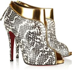 CHRISTIAN LOUBOUTIN Leather and Water Snake Ankle Boots