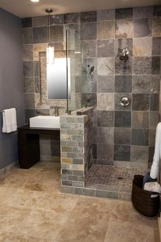 Boading Creme Quartzite tile shower #thetileshop-- like the colors, so I can have options when styles change.