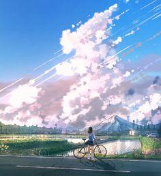 images like beautiful anime girl art Art Anime, Anime Artwork, Anime Art Girl, Fantasy Landscape, Landscape Art, Fantasy Art, Japon Illustration, Landscape Illustration, Foto Portrait