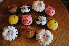Barnyard animal cupcakes