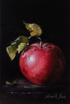 Sale Red Apple Original Oil Painting by Nina R.Aide Fine Art Fruit Small Painting