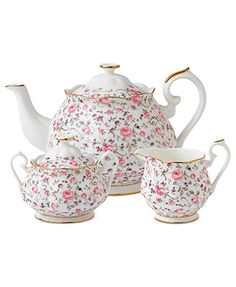 I should probably just get the whole set..oh bone china.. why do you have to be sooo expensive!? Royal Albert Dinnerware, Rose Confetti 3-Piece Tea Set