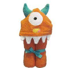 Maddie  Monster Orange Hooded Towel