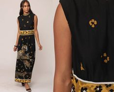 Bohemian Maxi Dress LEOPARD PRINT 70s Hippie Jungle Empire