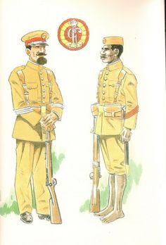 Guinea Ecuatorial Española, Sargento en uniforme de formación y Cabo indígena en uniforme de formación (ambos de la Guardia Colonial de Guinea), sobre 1912.