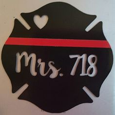 """Custom design firefighter logo decal. For firefighter wife with heart, thin red line, and husband's badge number. 2.25"""" for back of iPhone case."""