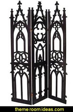 Metal Gothic Floor Screen Antique Black at home living furnishings