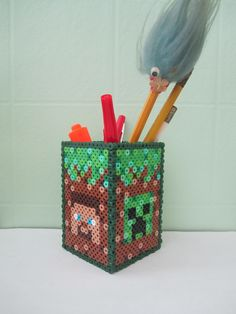 Minecraft Pencil Holder_Perler Beads