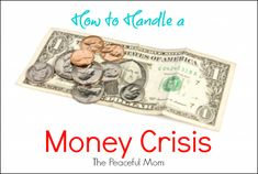 How to Handle a Money Crisis--The Peaceful Mom  #money