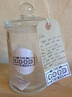 how about creating a Positivity Jar for yourself? Start an empty jar and out notes of good things that happen, do it with your spouse (boyfriend or girlfriend). Open it and read at the end of the following year and enjoy the memories of the past! #positive #gig