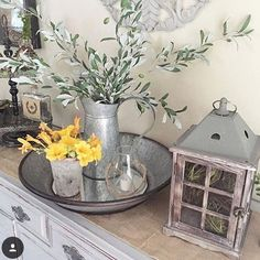 Angie @angieswreathsandmore, does such an awesome job decorating her home!  I 💕 our olive stems and lantern in her grouping!!