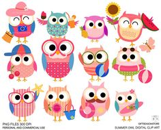 Summer owls Digital clip art for Personal and Commercial use - INSTANT DOWNLOAD