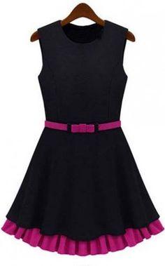 Round Neck Sleeveless Cotton Blend Dress